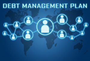 Debt Management Plan concept on blue background with world map and social icons.