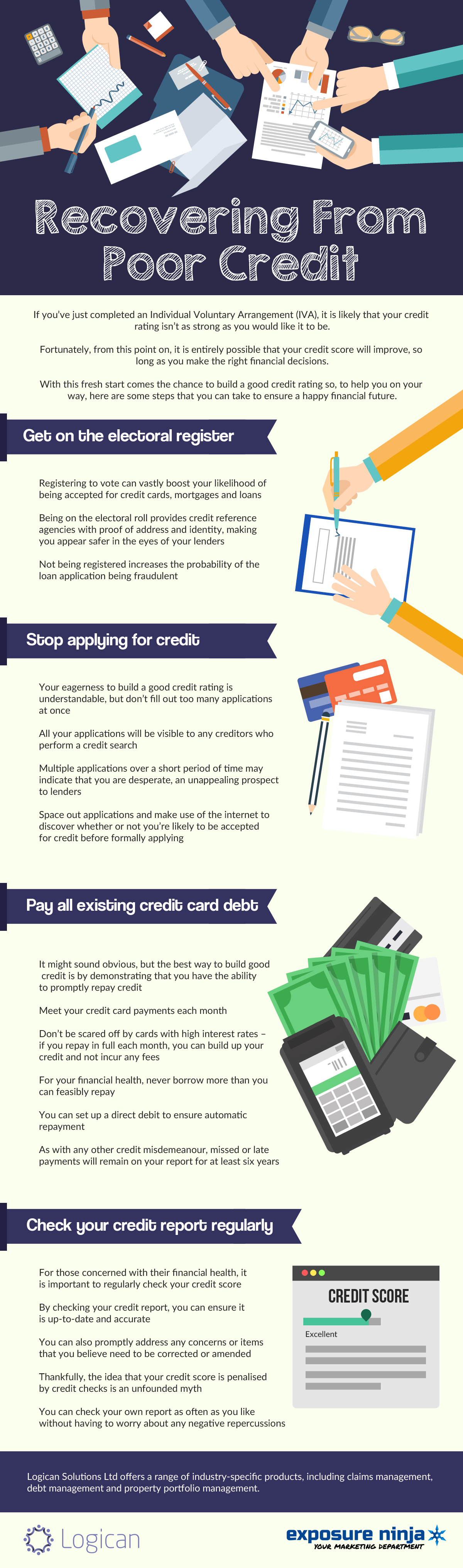 Recovering from poor credit infographic