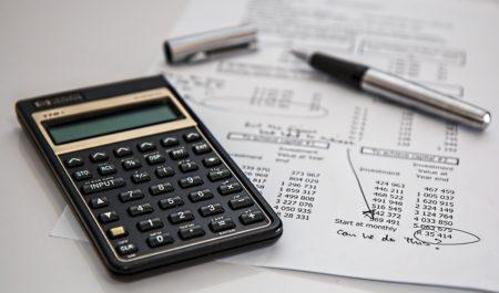 a calculator on a budget sheet