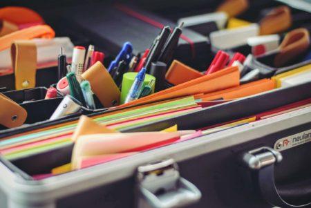 organised office supplies