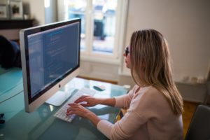 woman working at a computer