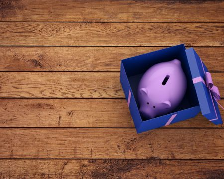 a piggy bank in a box